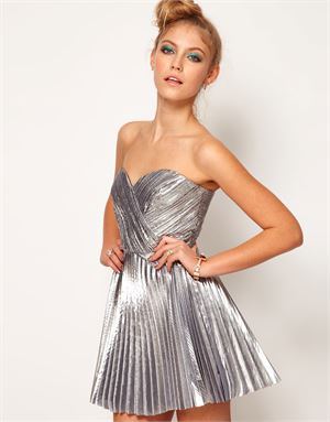 Lashes Of London Bandeau Dress in Metallic