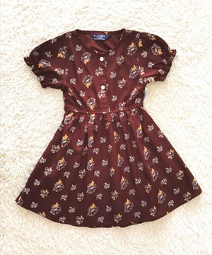 [SIZE 5Y] Baby and Kids Dress FLOWER BROWN : Brand KF