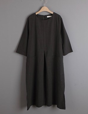 Cotton Linen Caftan (Charcoal)