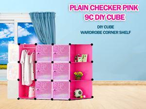 Plain Pink 9C DIY Cube w Corner Rack (FP9CR)