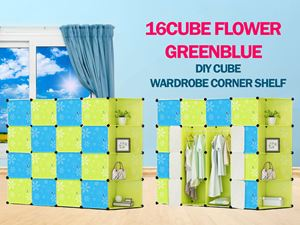 Flower Checker BlueGreen 16C DIY Cube w Corner Rack (BG16CR)