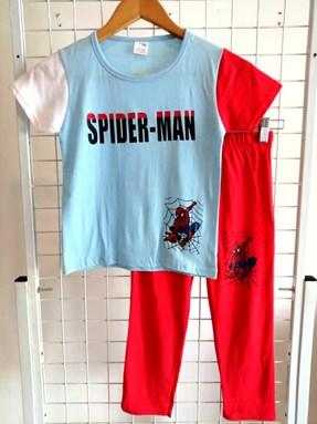 Pyjamas PLAIN SPIDERMAN WHITE-LIGHT BLUE-RED - Short Sleeve 1y-8y