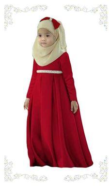 Dress Jubah Kids + Tudung Beriben - Red (8-12y)
