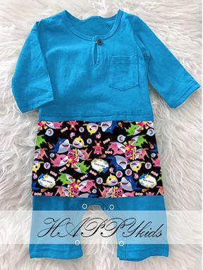 BABY SHARK BAJU MELAYU ROMPER (BLUE)