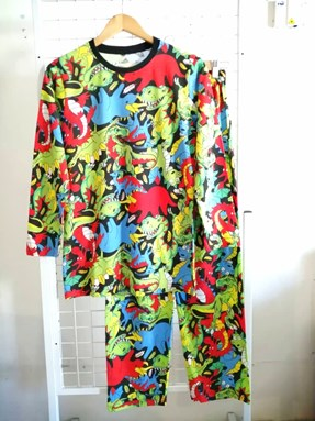 Pyjamas COLOURFUL DINOSAUR : Size DEWASA L - 2XL