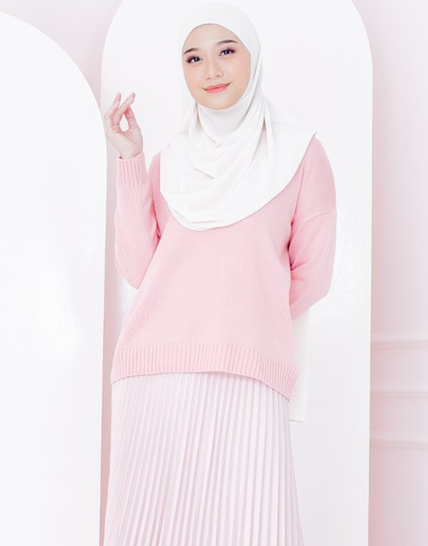ASHLEY KNITTED TOP IN LIGHT CORAL