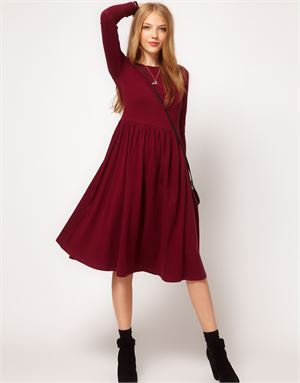 Midi Dress With Long Sleeve