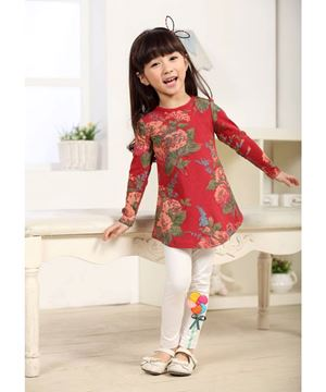 Girl Clothing Set - Red Flower