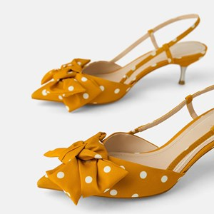 Yellow Polka Dot Bow Decorated Pointed High Heels