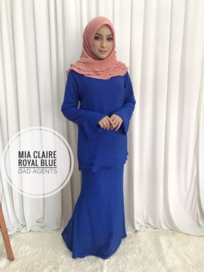 Kurung Mia Claire Royal Blue
