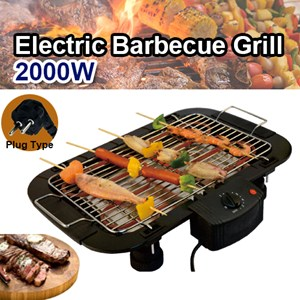 Electric Barbecue Grill Indoor Tabletop Thermostat Grill Height Adjustable Electric BBQ Grill (Plate BESI)