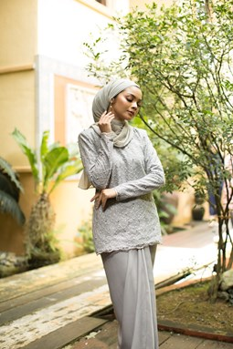 Salmah Kurung (Light Grey)