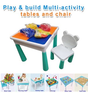 Play & Build multi-activity Table ( meja lego dan kerusi )
