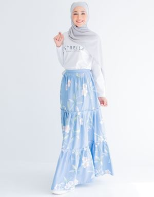 NUR FLORAL SKIRT IN SKY BLUE