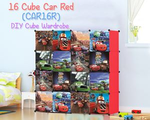 Car Red 16 Cube DIY Wardrobe (CAR16R)