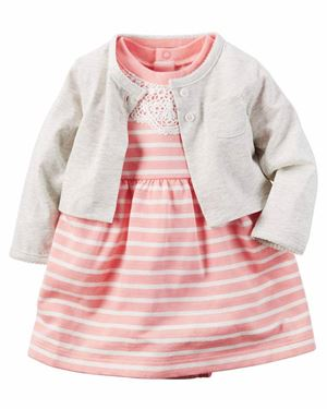 Baby Romper & Cardigan Set Stripe Peach