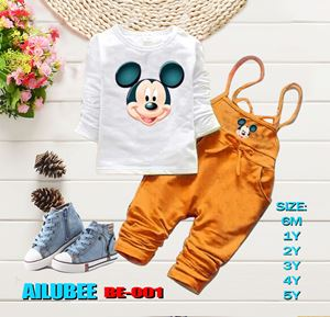BE001 ( MICKEY BROWN ) AILUBEE BABY JUMPSUIT 2PCS SET