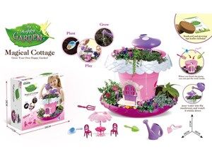 DIY Garden Kit Biology Fairy Garden Toys Kit for Girls Complete Flowerpot Base Watering Can Soil Seeds Furniture Gardening Tools