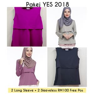 Year End Sale!! 4 helai INNER Menyusu (2 Long Sleeve & 2 Sleeveless) Random Color
