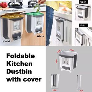 Foldable Kitchen Dustbin with cover Rubbish Bin Folding Trash Garbage Basket Food Waste Bin Car Bucket Door Hanging Cupboard