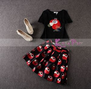 KOREAN GIRL SET TOP + SKIRT IN BLACK RED