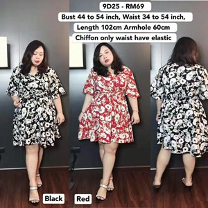 9D25 *Ready Stock *Bust 44 to 54 inch /111 -137cm