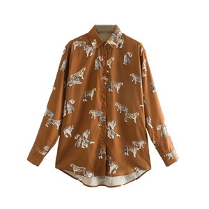BROWN TIGER PRINTS TOP
