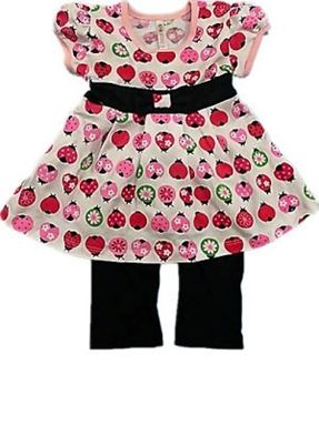 BABY GIRL SET - LADYBIRDS BLACK PANT SET