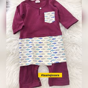 Rompers Baju Melayu ( 18MTH - 2YRS) Purple with Small Fish  Sampin