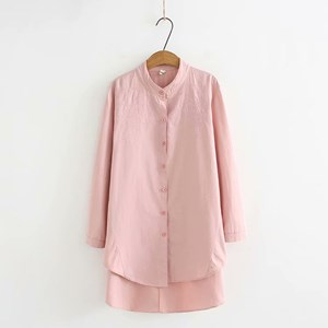 Oversized Embroidered Shirt (Light Pink)