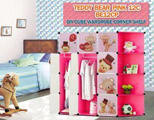 Teddy Bear PINK 12C DIY CUBE WARDROBE w CORNER RACK (BE12CP)