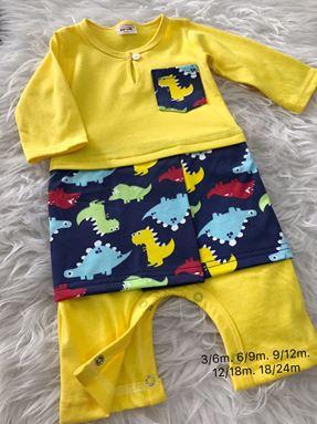 Rompers Baju Melayu 3-24 bulan ( Yellow With Dinosaur Sampin)