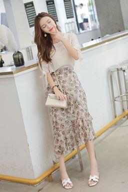 Beaded Chiffon T-shirt + Floral Flecked Skirt