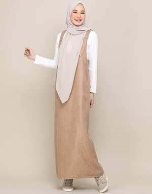 SOPHIA OVERALL DRESS IN BROWN