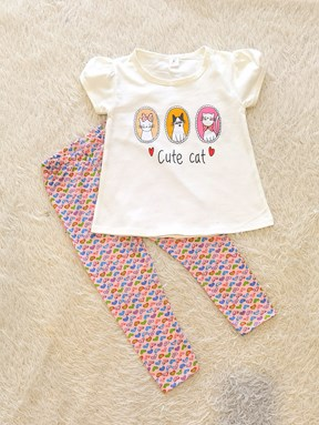 [SIZE 2Y] Girl Set WHITE CUTE CAT WITH MINI LOVE PANT