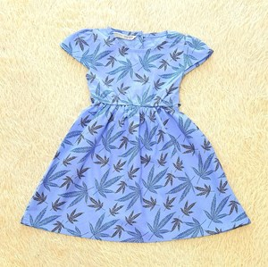 [SIZE 3Y , 5Y , 6Y] Baby and Kids Dress MAPLE LEAVES BLUE Brand KF