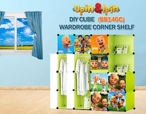 NEW Upin & Ipin GREEN 14C DIY Wardrobe with Corner Shelf (BB14GC)