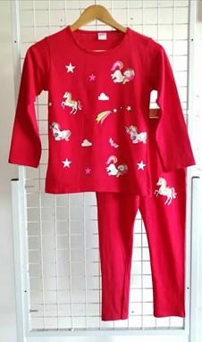 Pyjamas PLAIN UNICORN STAR 2 Red - Long Sleeve (Big Size) 11y-18y