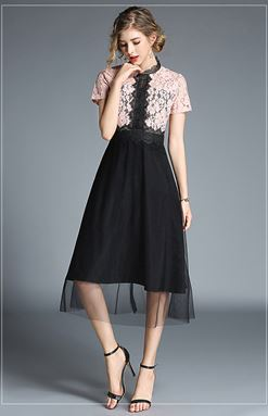 Hollow Lace Short-Sleeved Dress