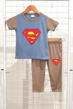 SIZE 1/2 KIDS Pyjamas BIG SUPERMAN Grey Dusty Blue - Short Sleeve 1y - 8y (KWF)