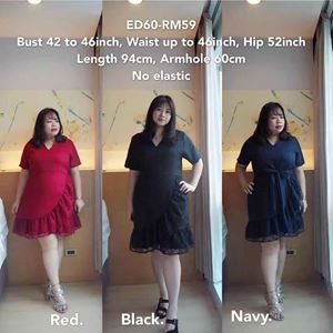 ED60 *Ready Stock *Bust 42-46inch/ 106-117cm