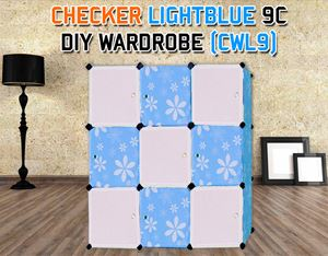 CHECKER LIGHTBLUE 9C DIY WARDROBE (CWL9)
