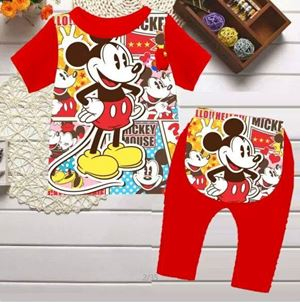 @  RED MICKEY SHORT SLEEVE SLEEPWEAR ( SZ 3-24M )