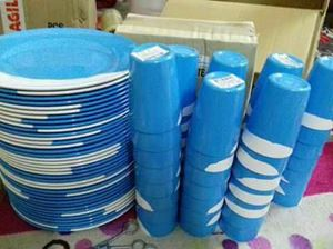 MELAMINE TWO TONES (50PCS PINGGAN MAKAN & 50PCS GELAS) - LIGHT BLUE