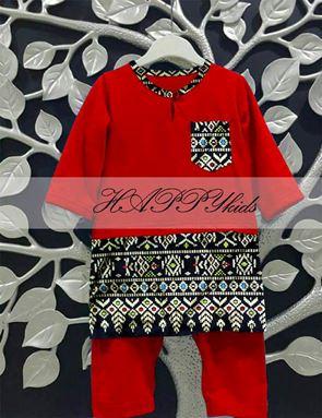 Baju Melayu Rompers - Songket Printed - Merah