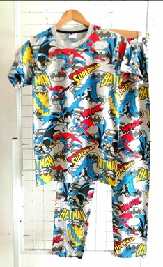 Pyjamas BATMAN SUPERMAN GREY : DEWASA XL (MYSHA)