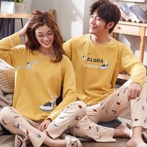 KOREAN STYLE COUPLE LONG SLEEVE SLEEPWEAR - SET 1  ( SIZE M - 3XL )
