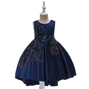 T5035 Girls Sequins Princess DresS - NAVY BLUE   ( SZ 100-150 )