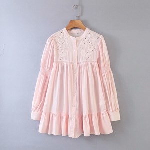 FLOWER EMBROIDERY PLAIN TUNIC