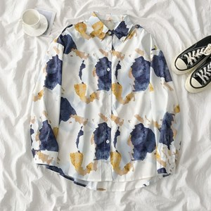 BLUE AND GOLD ABSTRACT PRINTS TOP